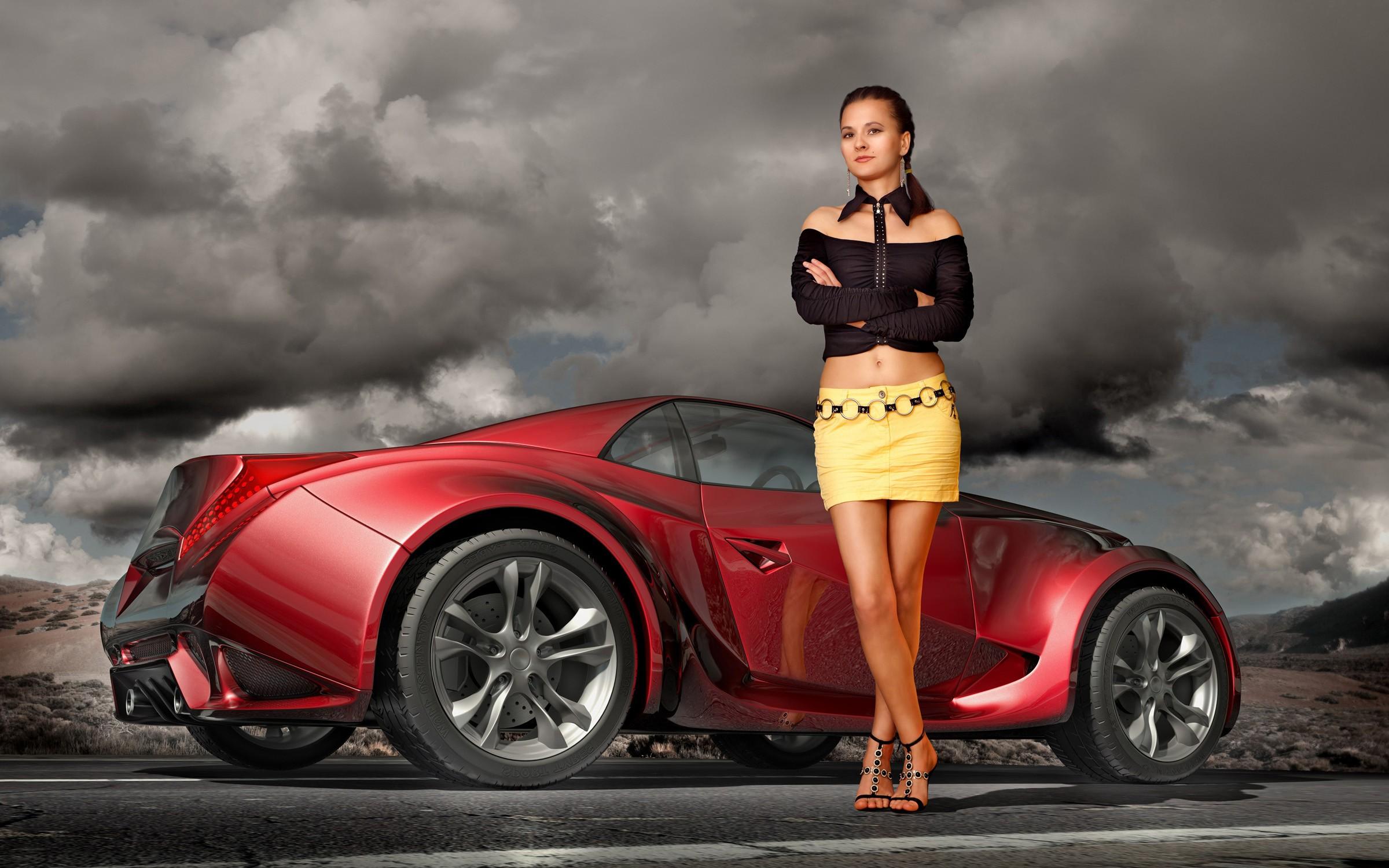 Una chica y un auto 3D - 2400x1500