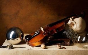 Una calavera y violín