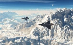Aviones volando sobre montañas