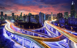 Una ciudad en la noche