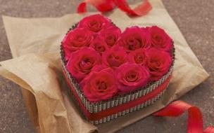 Regalo de rosas y corazones