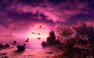 Una puesta de sol digital
