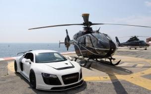 Audi R8 y un helicóptero