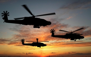 Helicópteros al atardecer