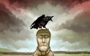 Cuervo en una estatua