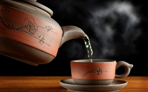 Una tetera y una taza