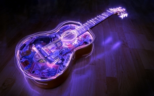 Guitarra con bordes neon