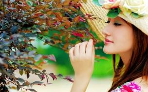 Chicas asiaticas y flores
