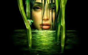 Mujer de verde