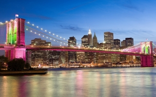 El puente rosado de Brooklyn Bridge