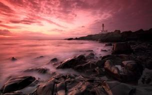 Atardeceres rosados de playas