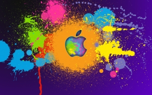 Arte digital y logo de Apple