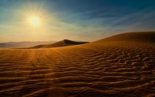 Puesta de sol en un desierto