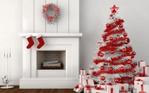 Un arbol de navidad blanco con rojo