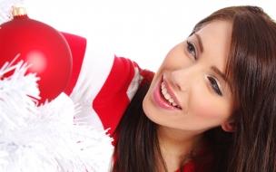 Una chica hermosa en navidad