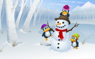 Dibujo de muñeco de nieve y pinguinos