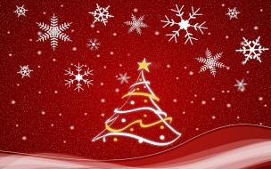 Fondo rojo con arbol y adornos de navidad