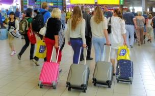 Bellas rubias en el aeropuerto