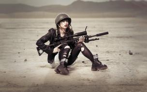 Chicas soldados con armas