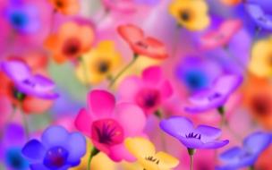 Flores artificiales de colores