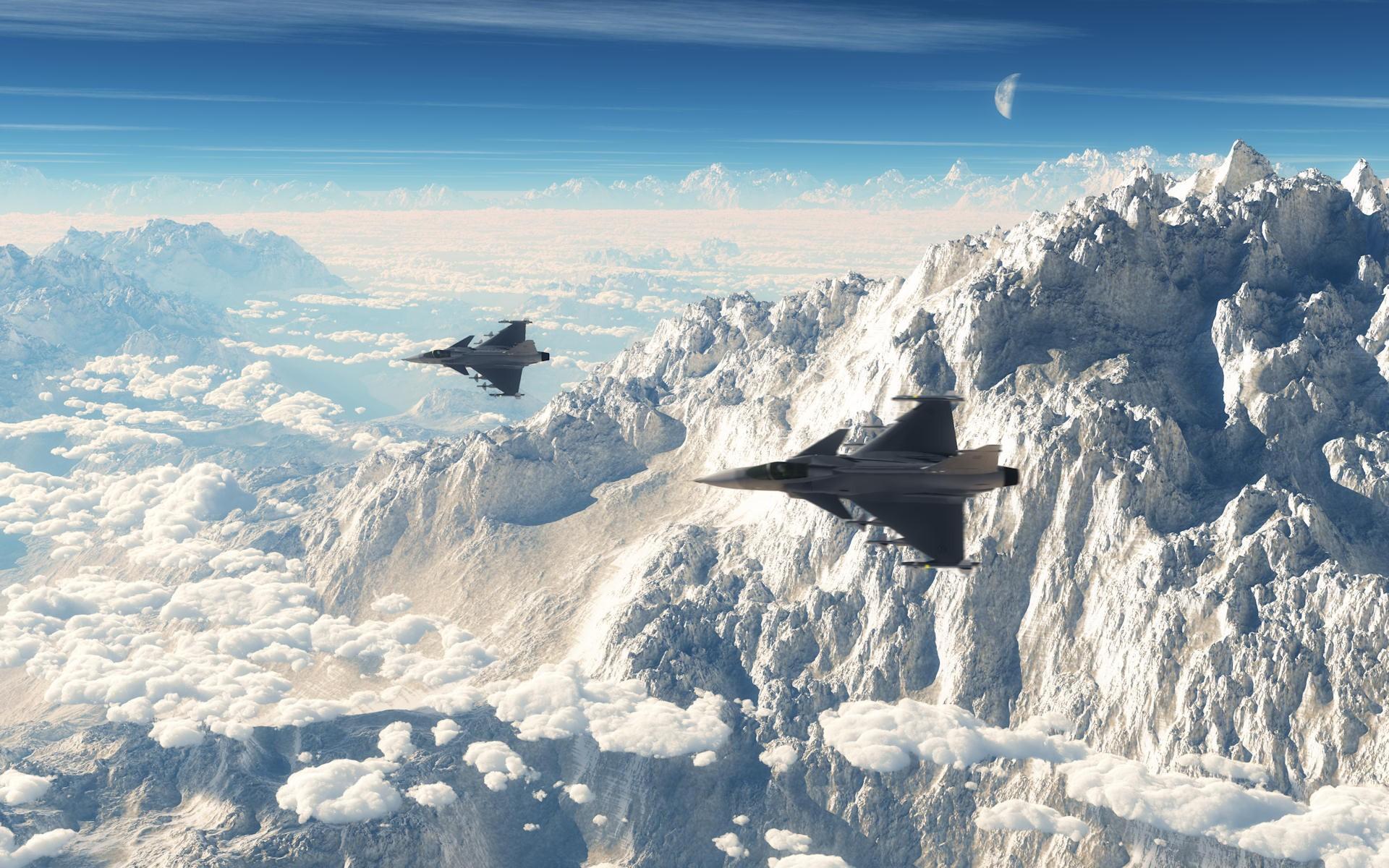 Aviones volando sobre montañas - 1920x1200