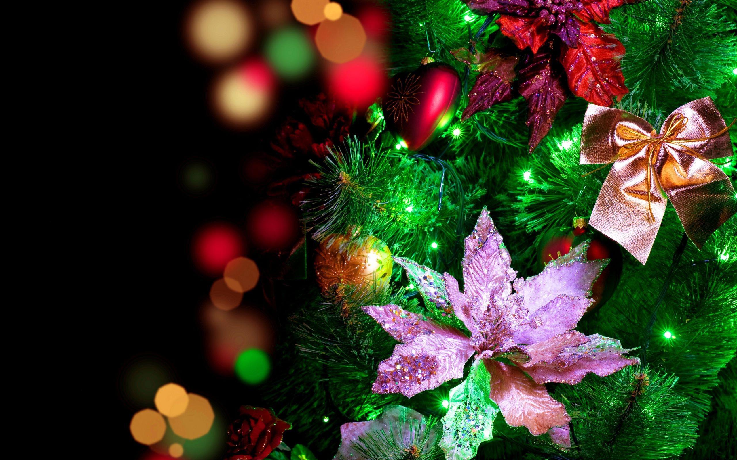 Bellos adornos de flores para arbol de navidad - 2560x1600