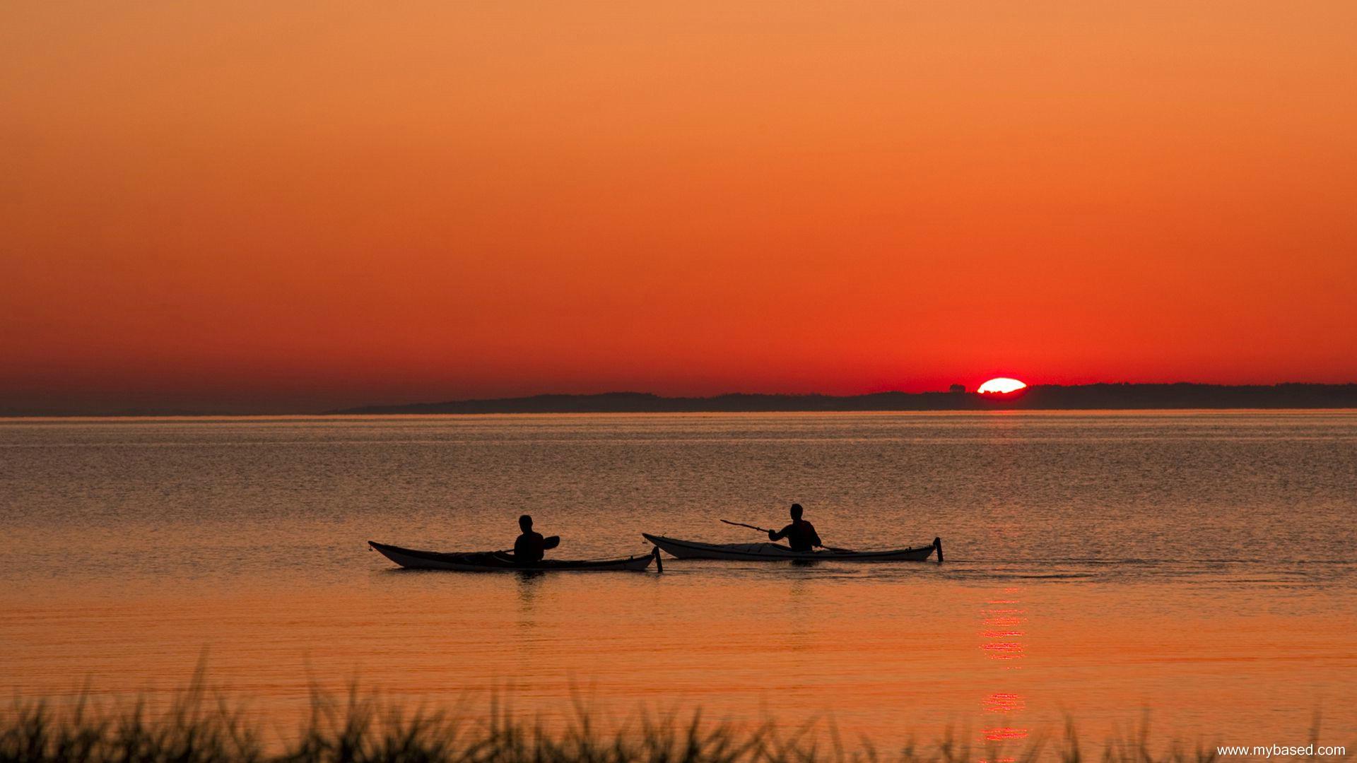 Canoas en lago - 1920x1080