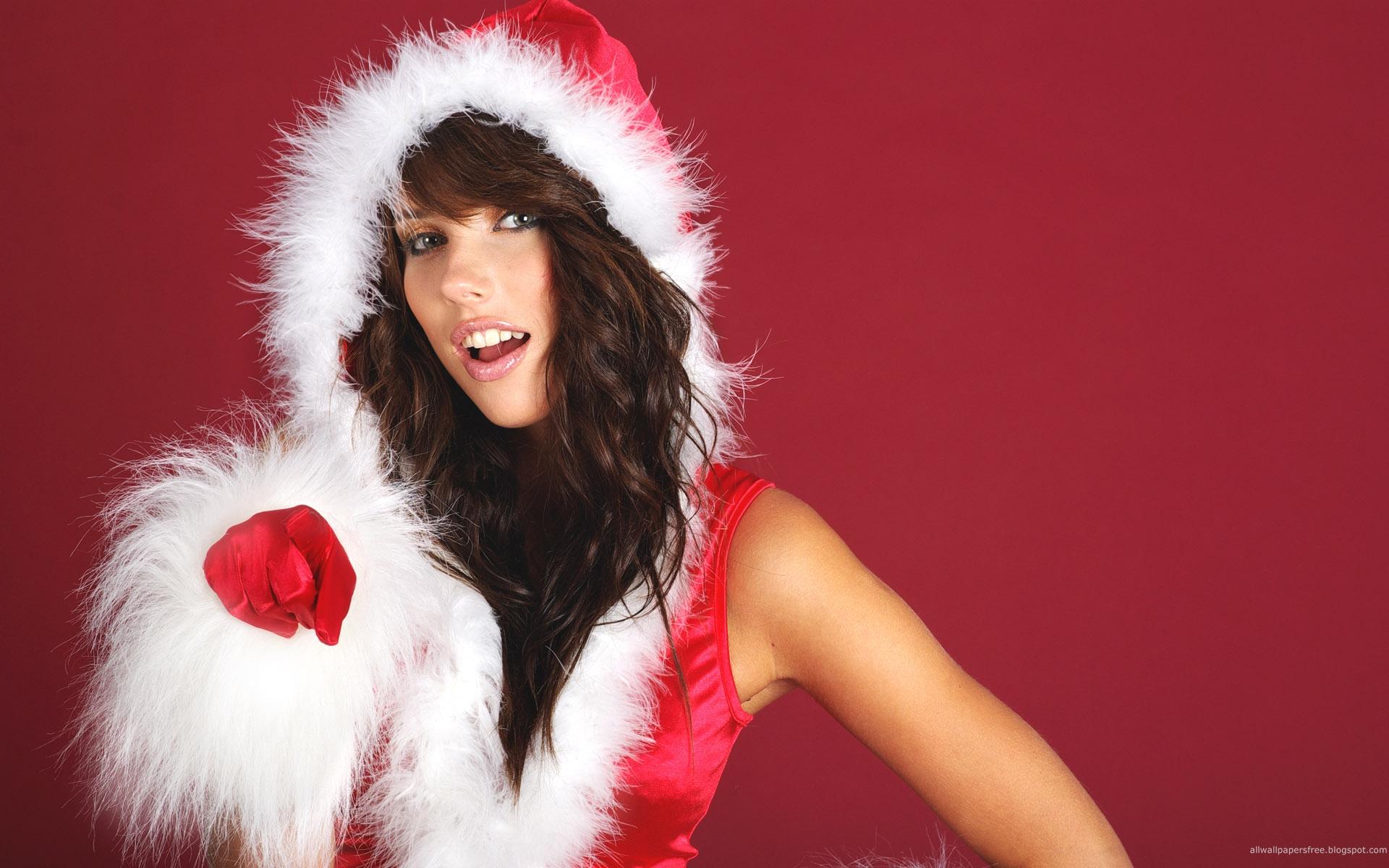 Chica bella disfrazada de Santa Claus - 1920x1200