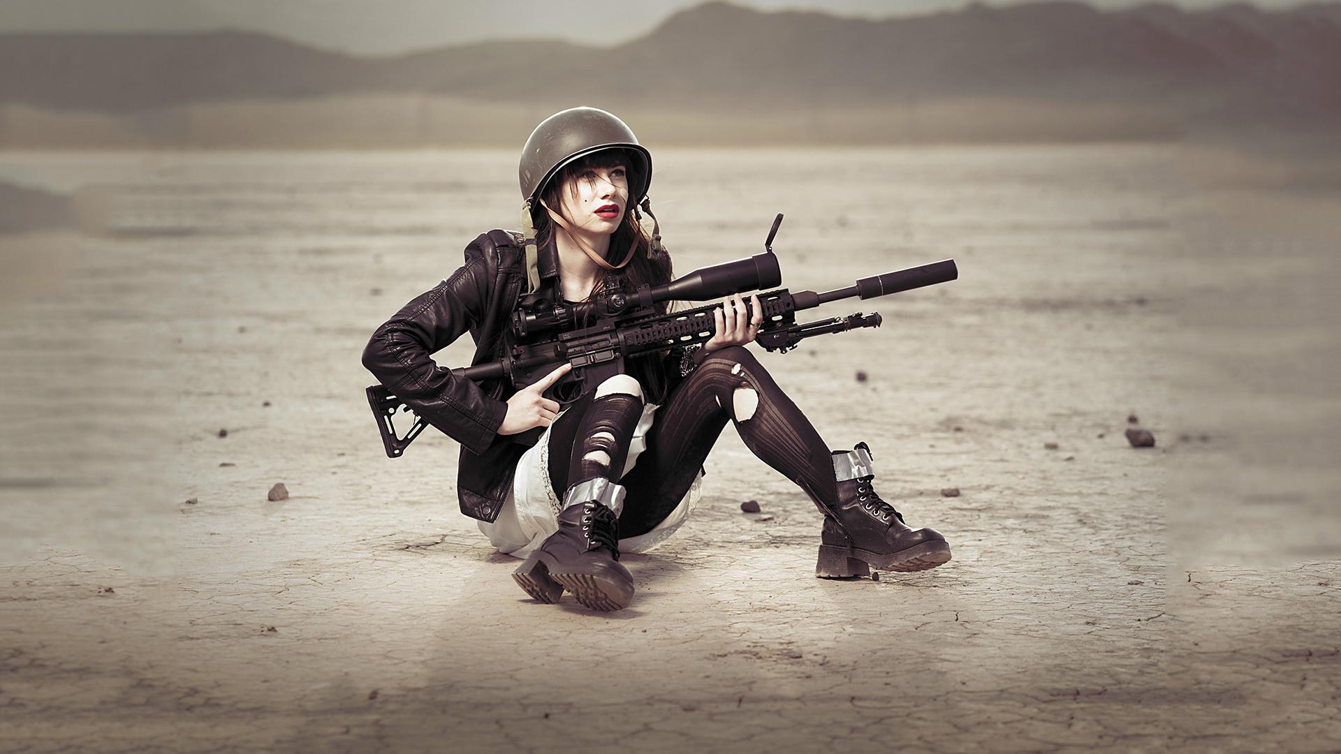 Chicas soldados con armas - 1920x1080