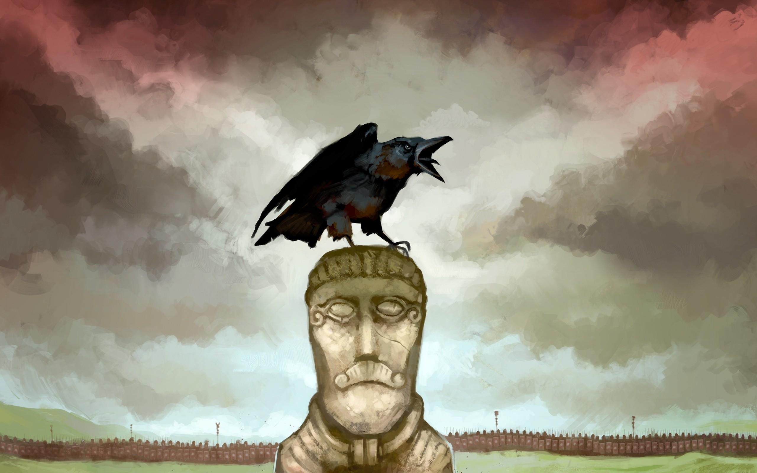 Cuervo en una estatua - 2560x1600