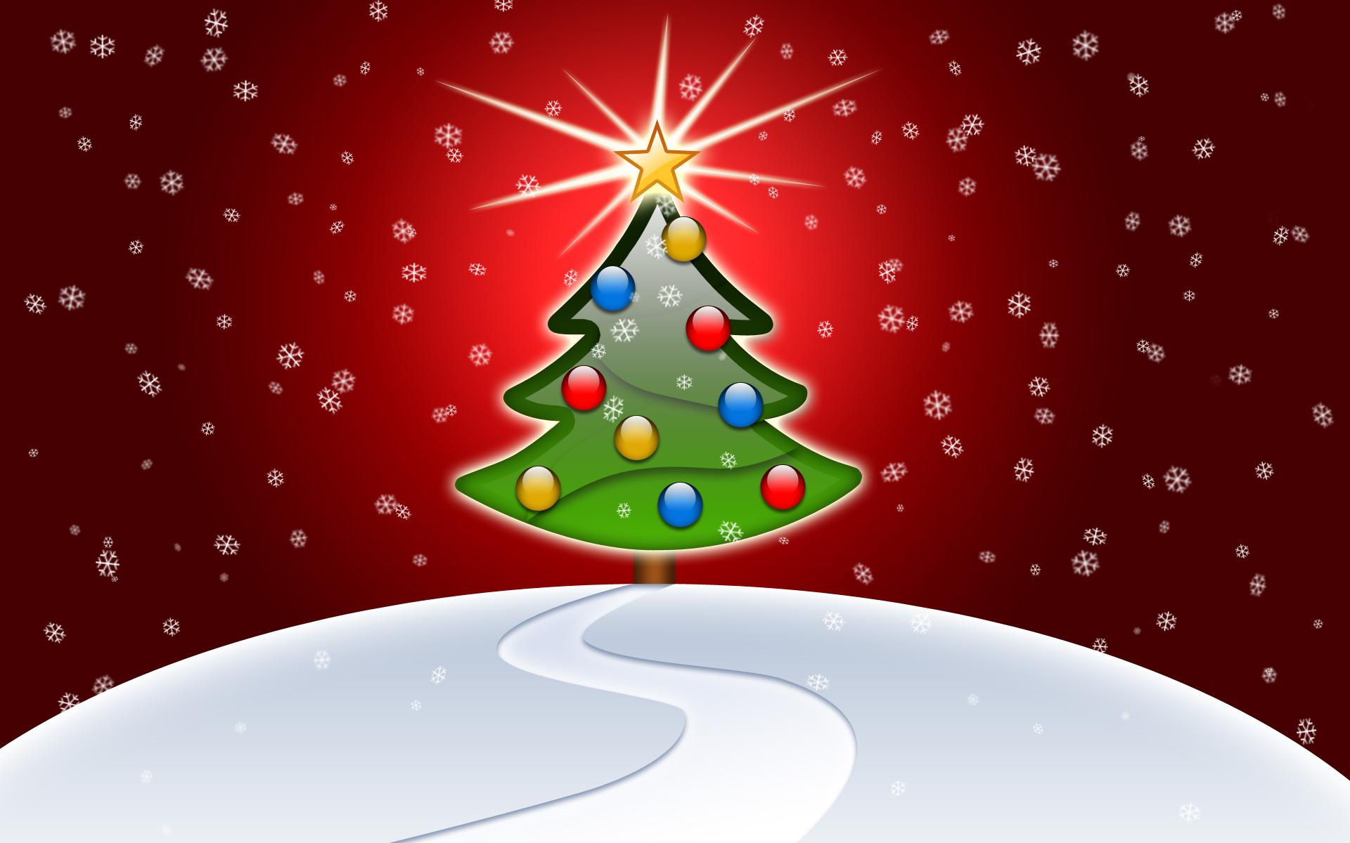 Dibujo con arbol de Navidad - 1920x1200