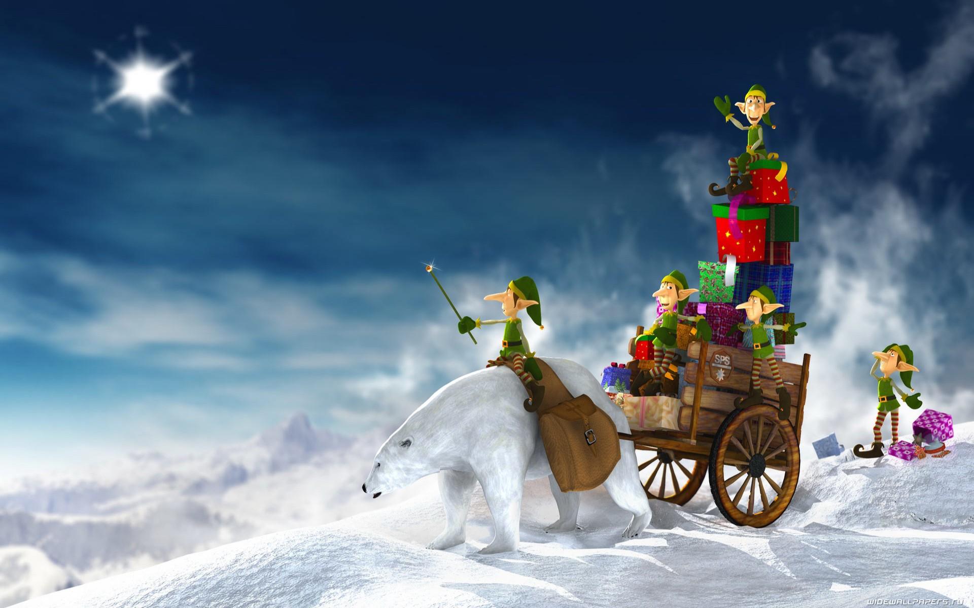Dibujo de duendes repariendo regalos en navidad - 1920x1200
