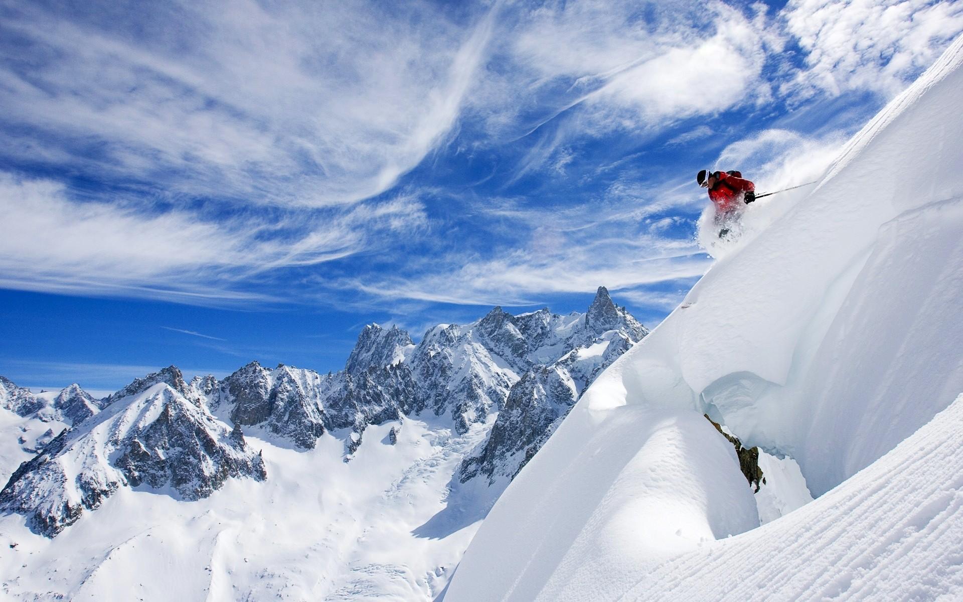 Esquiando en la nieve - 1920x1200
