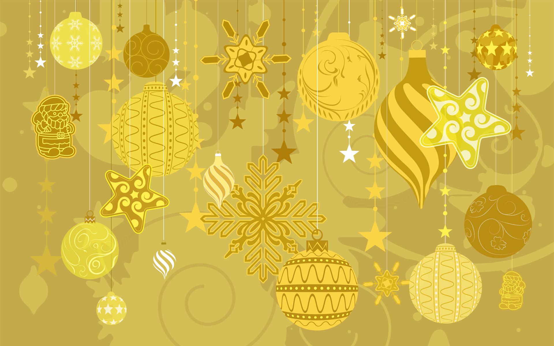Fondo dorado con tema de navidad - 1920x1200