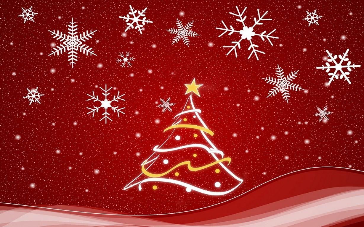 Fondo rojo con arbol y adornos de navidad - 1229x768