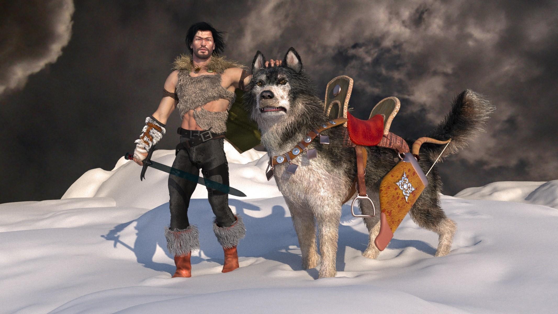 Guerrero y su perro - 2133x1200