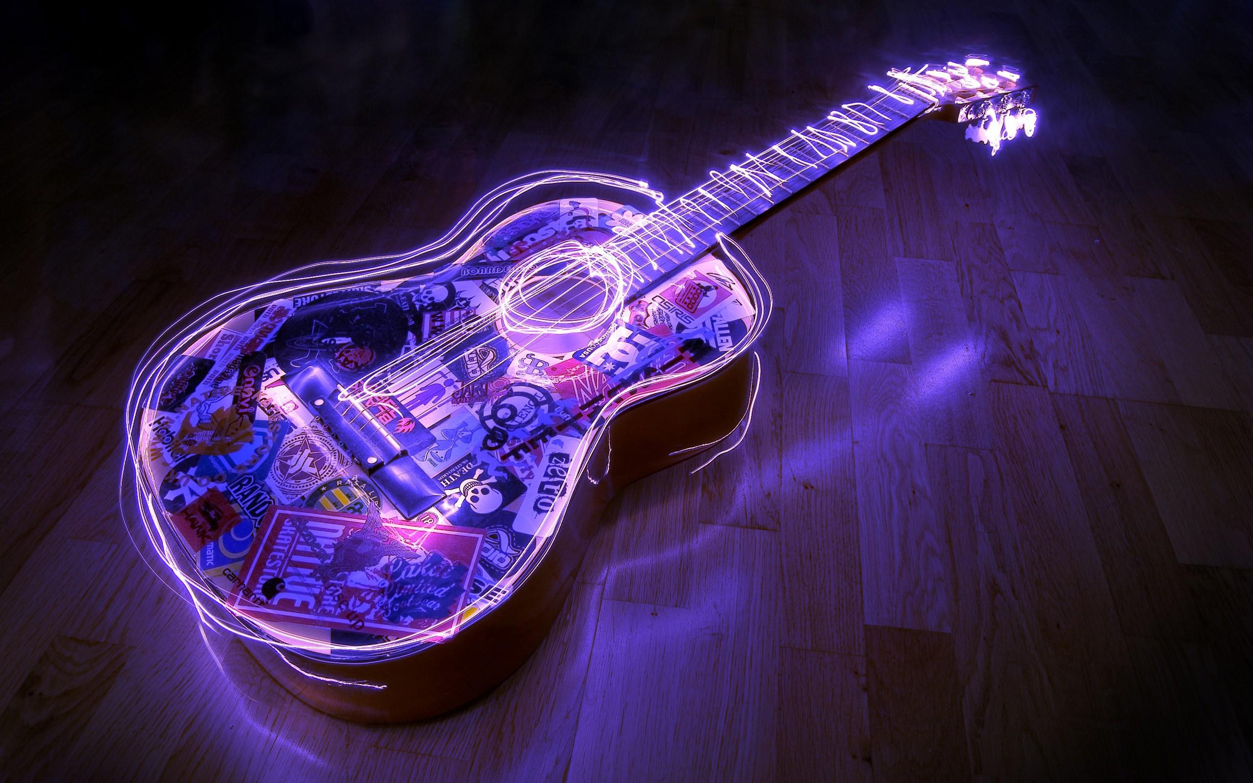 Guitarra con bordes neon - 2560x1600