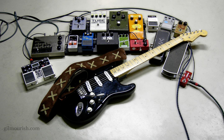 Guitarra Fender y pedales - 1440x900