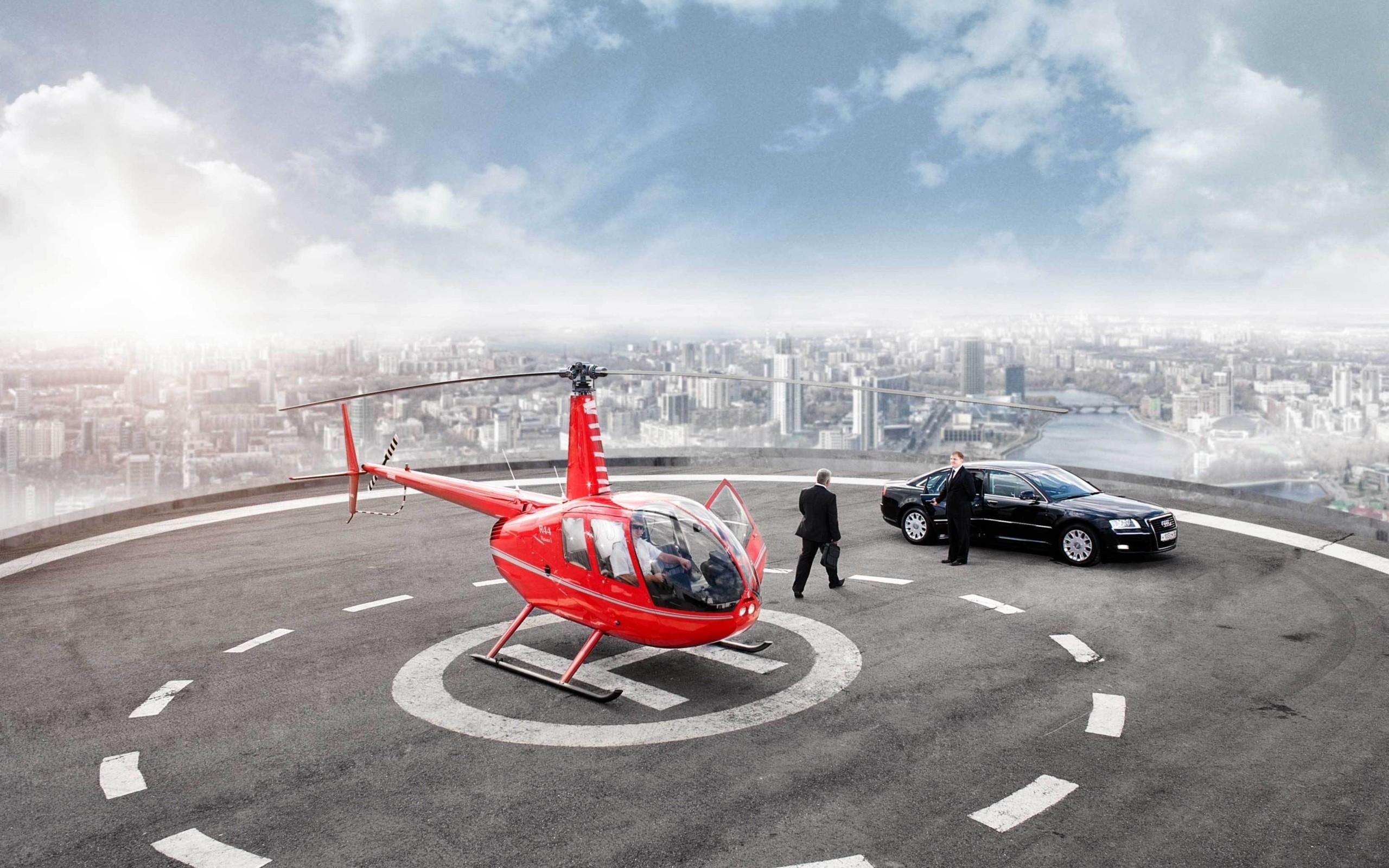 Helicóptero en rascacielos - 2560x1600