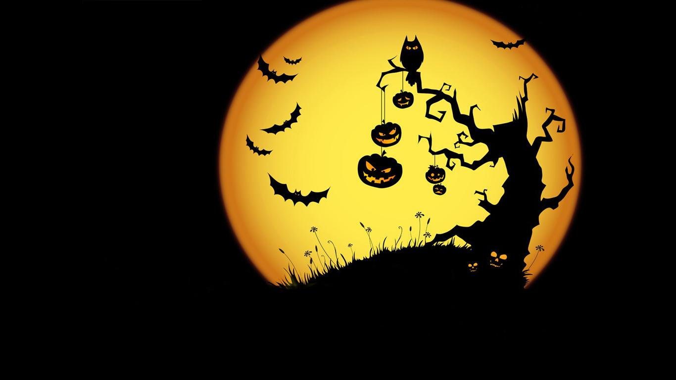La luna llena en halloween - 1366x768