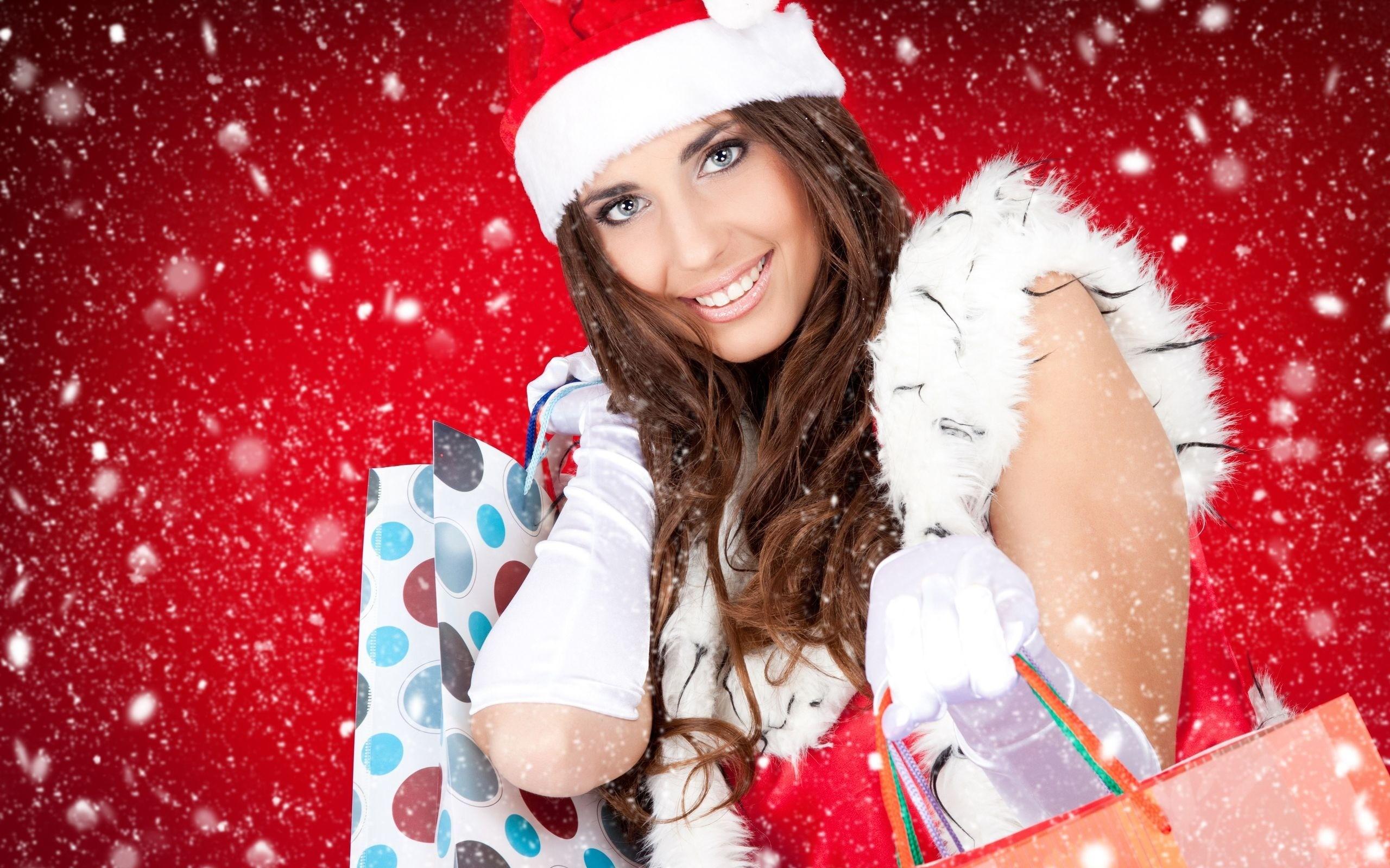 Lindas chicas con cajas de regalos navidad - 2560x1600