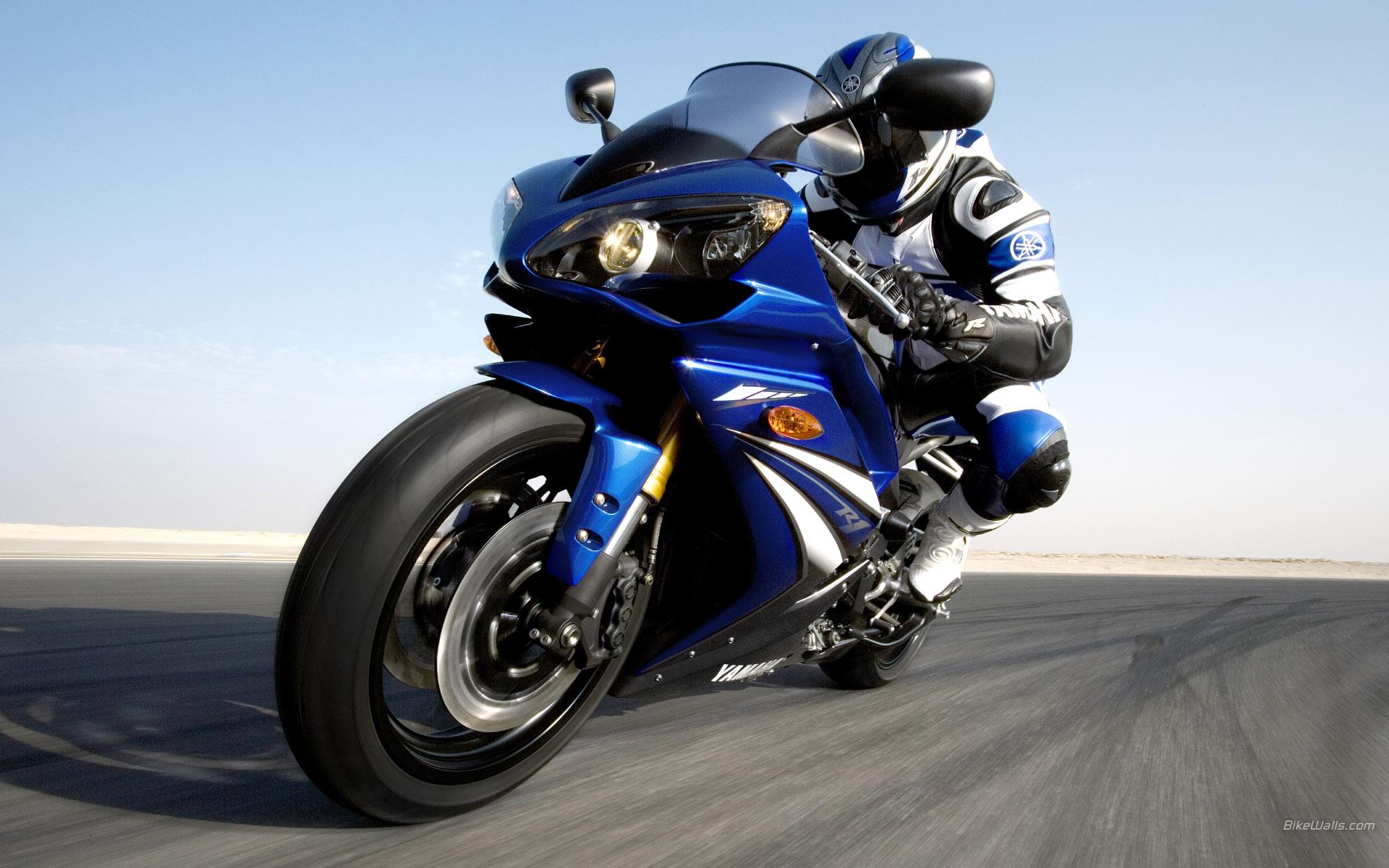 Moto Yamaha azul - 1920x1200
