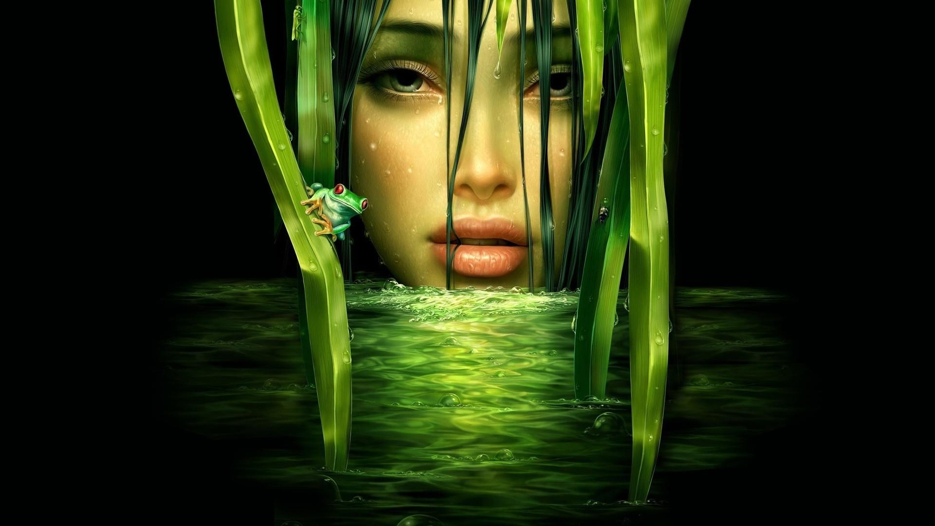Mujer de verde - 1920x1080