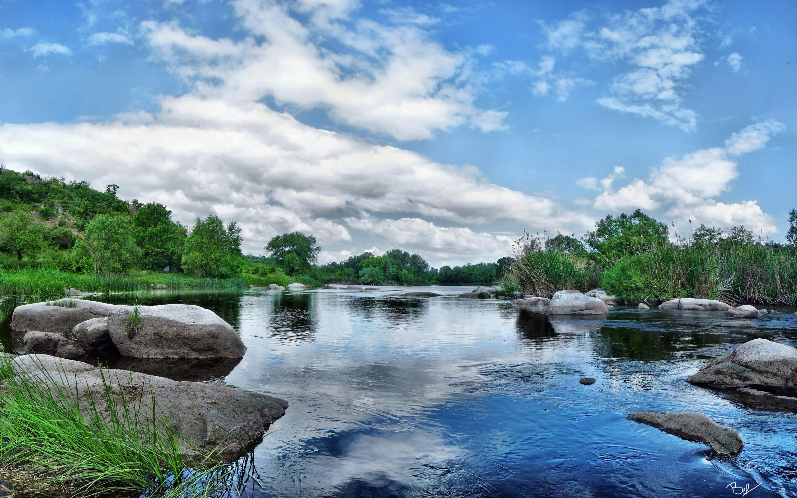 Pequeños rios en el campo - 2560x1600