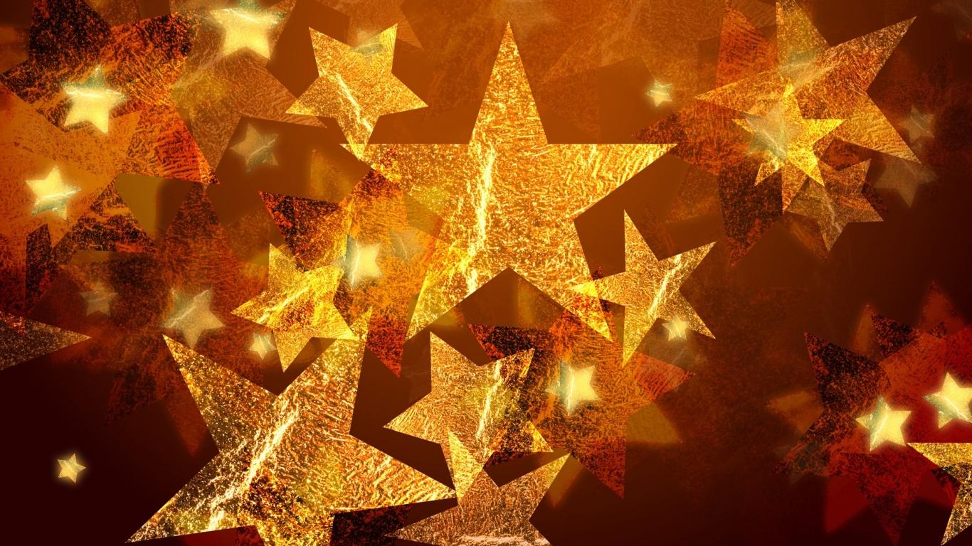 Adornos de estrellas por navidad - 1366x768