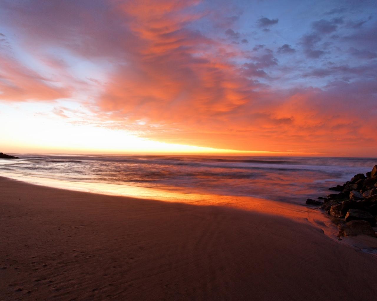 Amanecer en la playa - 1280x1024