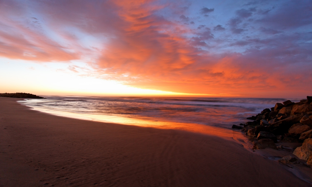 Amanecer en la playa - 1280x768