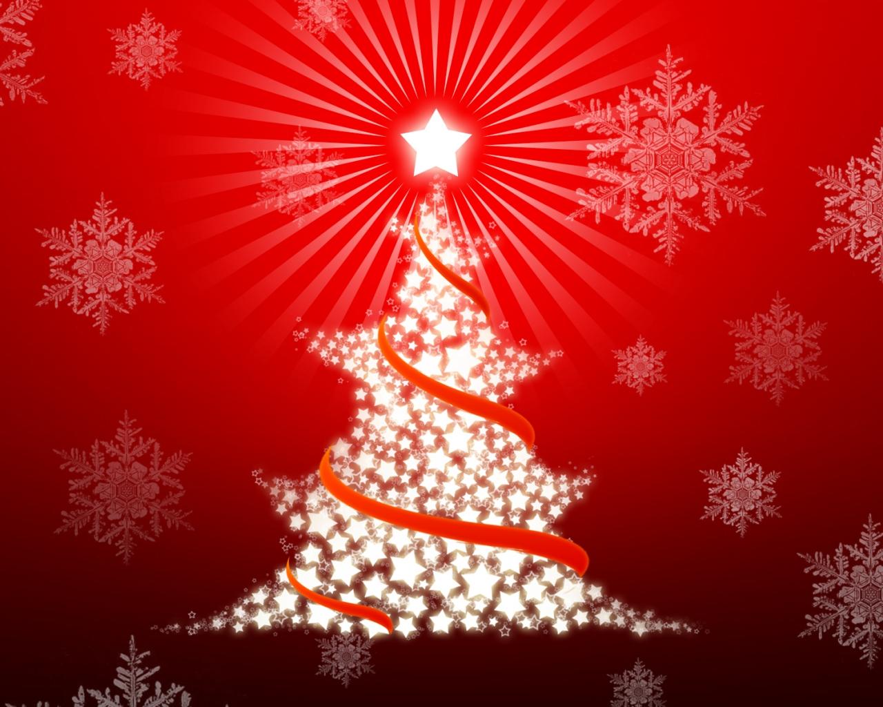 Arbol de navidad con estrellas - 1280x1024
