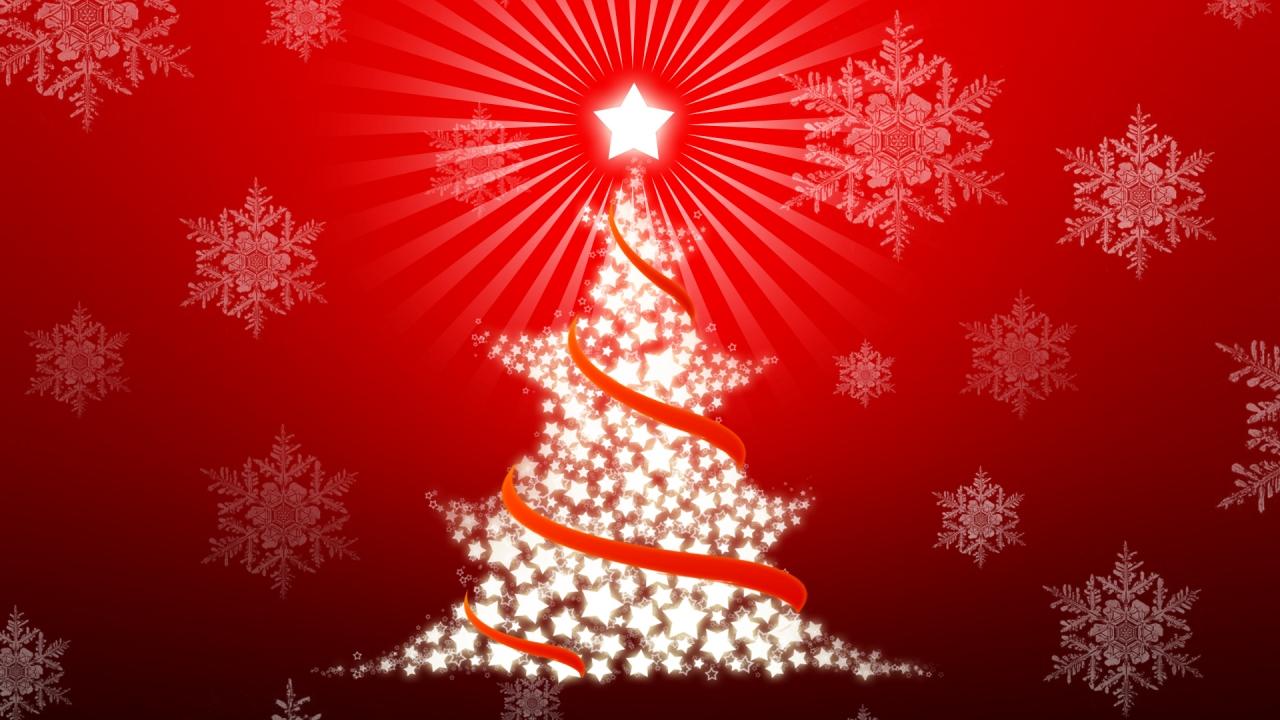 Arbol de navidad con estrellas - 1280x720