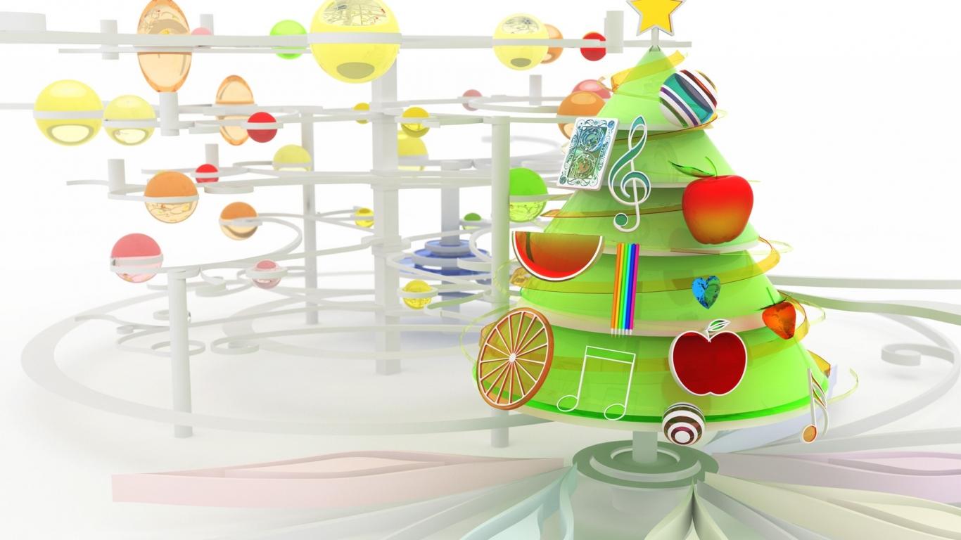 Arbol de navidad en 3D - 1366x768